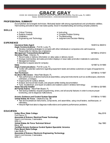 Insurance Sales Agent resume example Florida
