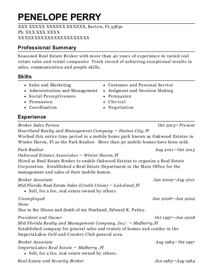 Broker Sales Person resume sample Florida