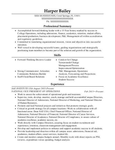 NATIONAL VICE PRESIDENT OF OPERATIONS resume sample Florida