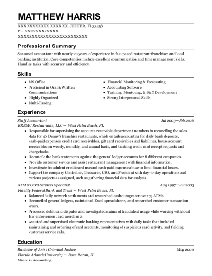 Staff Accountant resume format Florida