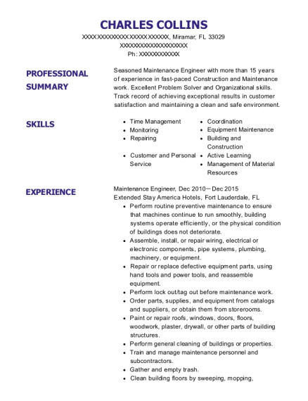 Maintenance Engineer resume template Florida