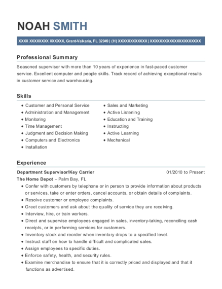 Department Supervisor resume template Florida