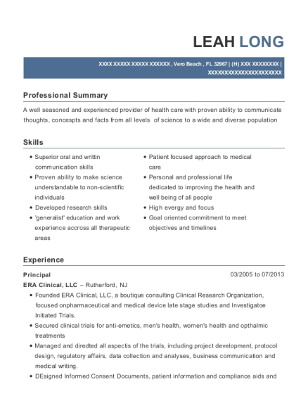 Principal resume example Florida