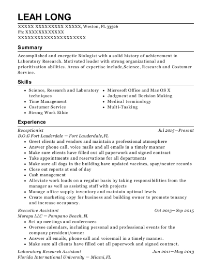 Receptionist resume template Florida
