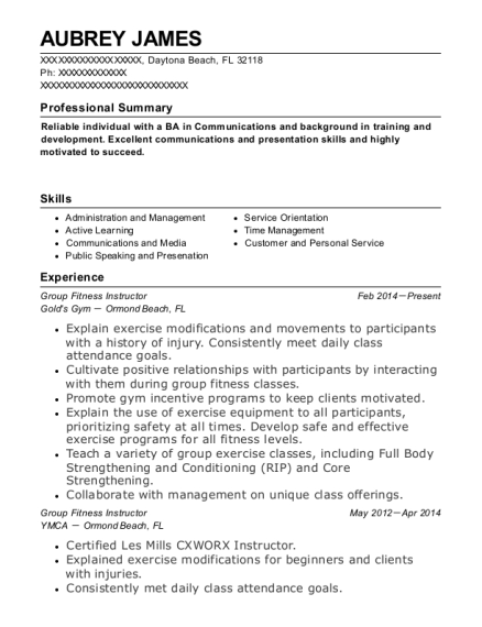 Group Fitness Instructor resume example Florida
