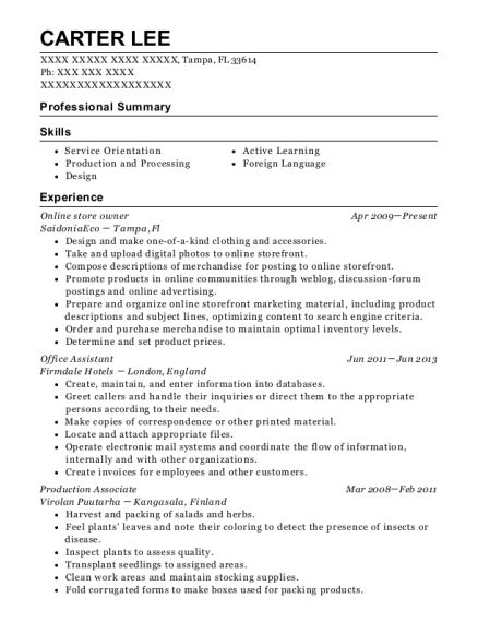 saidoniaeco online store owner resume sample