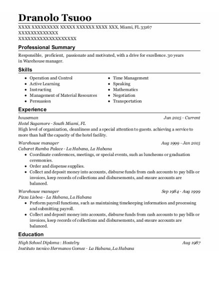 Houseman resume example Florida