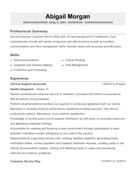 Clinical Support Associate resume format Florida
