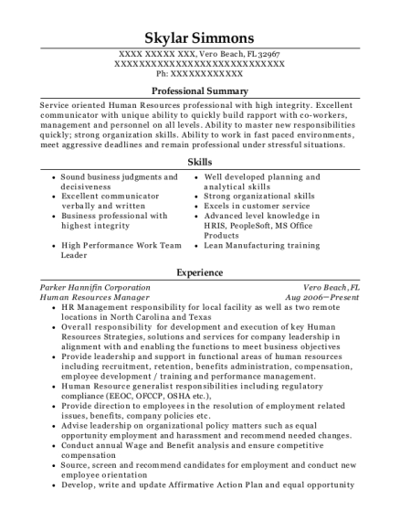 Human Resources Manager resume format Florida