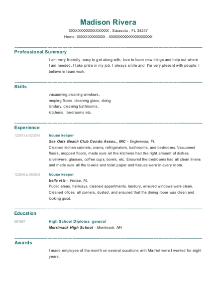 house keeper resume template Florida