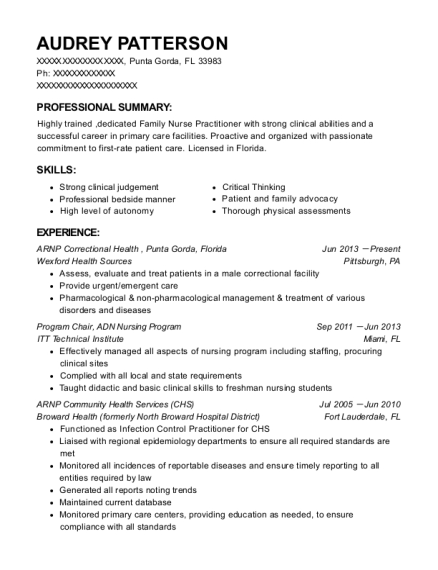 ARNP Correctional Health resume example Florida