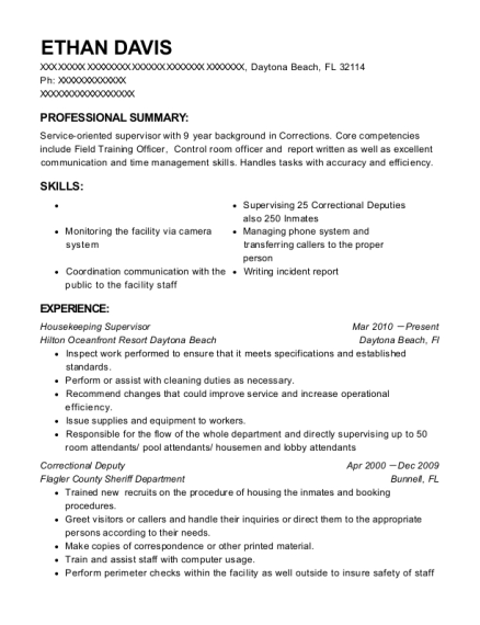 Housekeeping Supervisor resume format Florida
