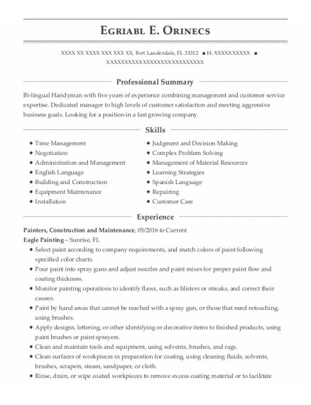 Painters Assistant resume example Florida