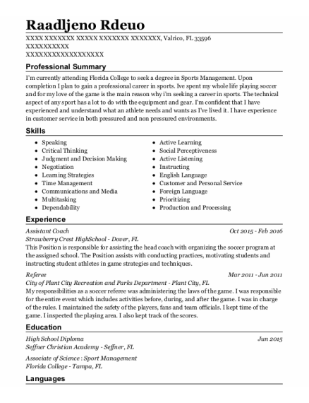 Assistant Coach resume example Florida