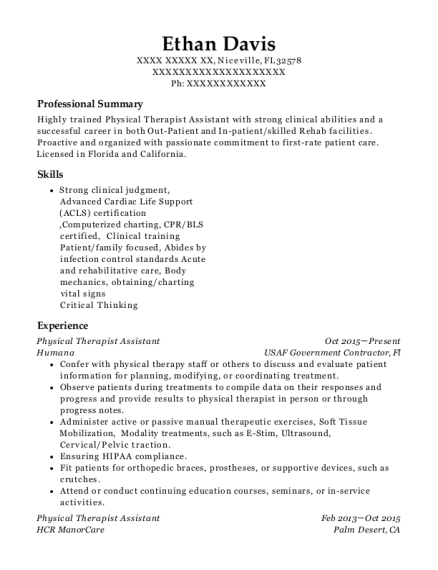 Physical Therapist Assistant resume sample Florida