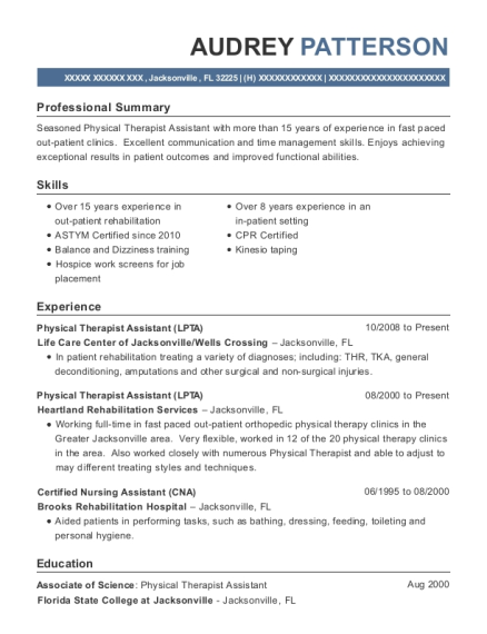 Physical Therapist Assistant resume format Florida