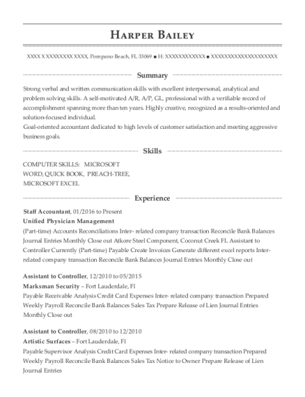 Staff Accountant resume template Florida