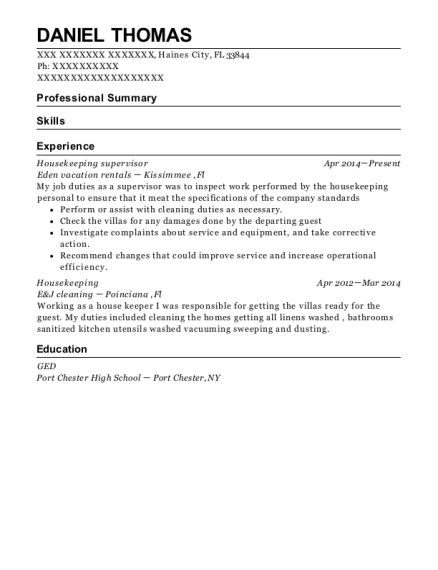 Housekeeping Supervisor resume template Florida