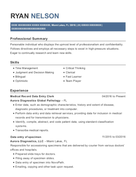 Medical Record Data Entry Clerk resume example Florida