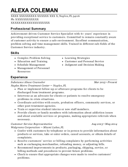 Substance Abuse Counselor resume example Florida