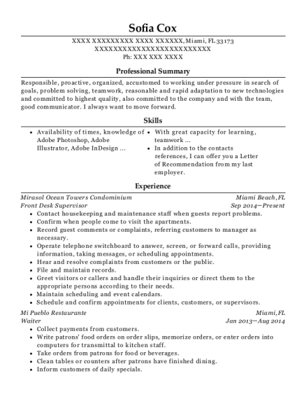 Front Desk Supervisor resume template Florida