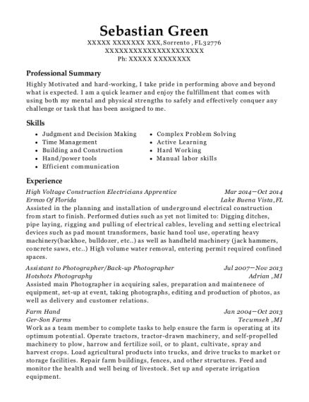 High Voltage Construction Electricians Apprentice resume template Florida