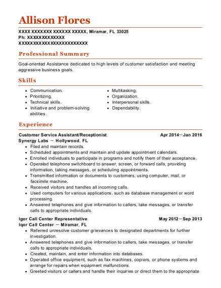 Customer Service Assistant resume template Florida