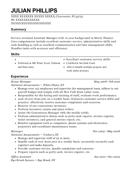House Manager resume example Florida