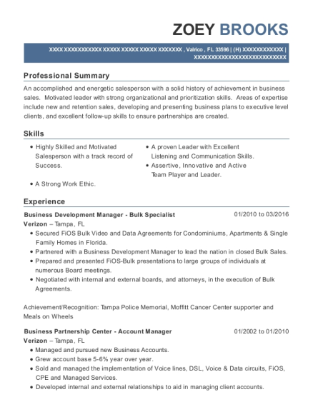 Business Development Manager Bulk Specialist resume format Florida