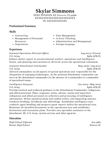 Assistant Operations Warrant Officer resume example Florida