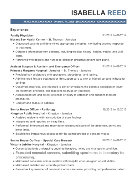 Family Physician resume format Florida