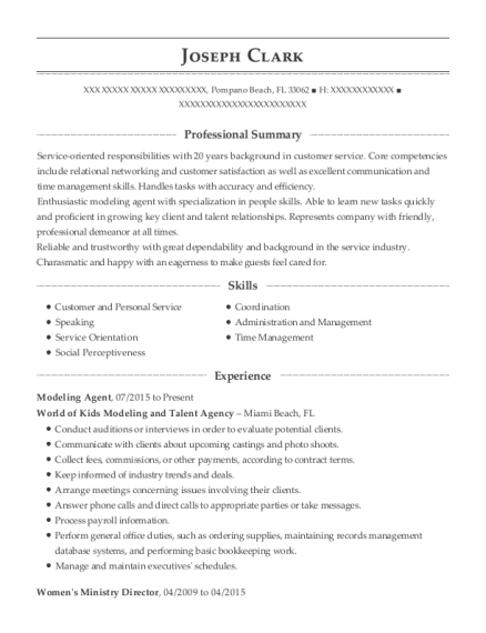 Modeling Agent resume template Florida