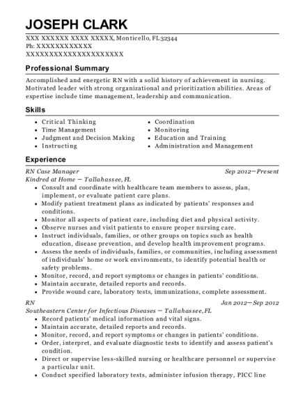 RN Case Manager resume template Florida