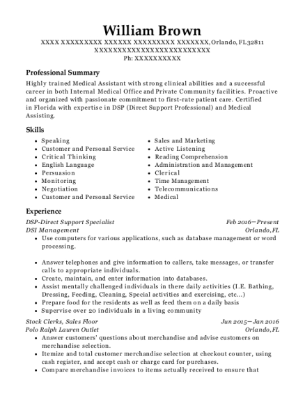 DSP Direct Support Specialist resume example Florida