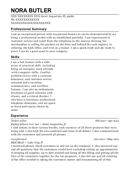 Ticket Seller resume example Florida
