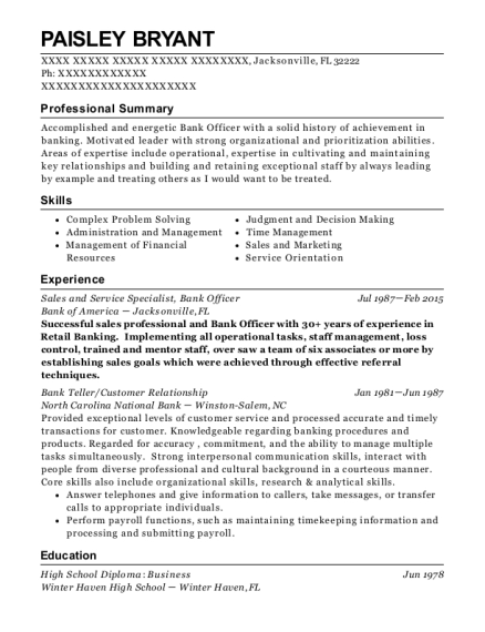 Sales and Service Specialist resume example Florida