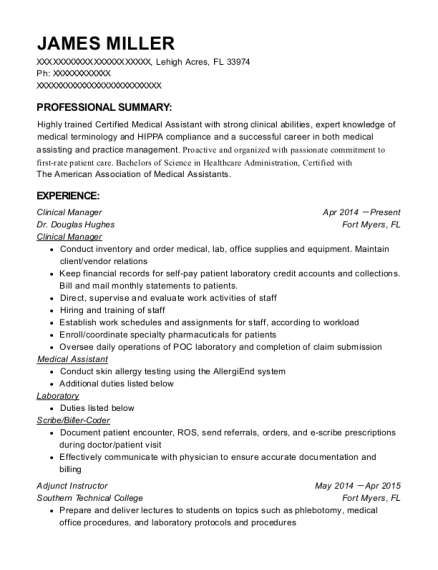 Clinical Manager resume sample Florida