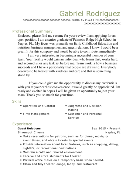 Guest Relations resume example Florida