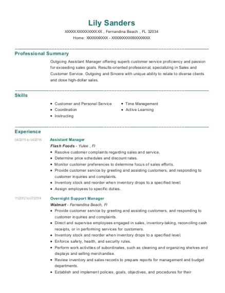 Assistant Manager resume example Florida