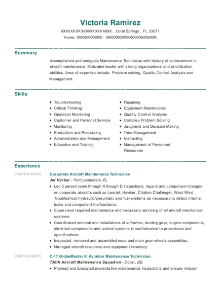 Corporate Aircraft Maintenance Technician resume sample Florida