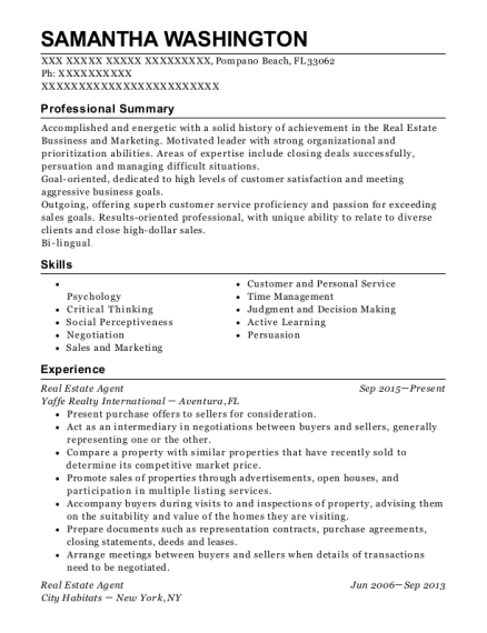 Real Estate Agent resume example Florida