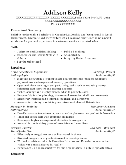 Home Department Supervisor resume example Florida