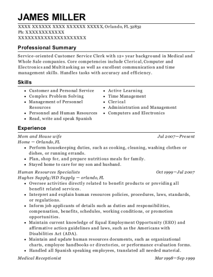 Mom and House wife resume format Florida