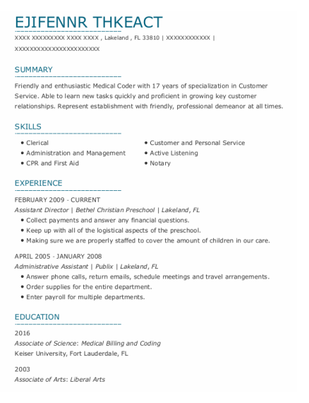 Assistant Director resume sample Florida