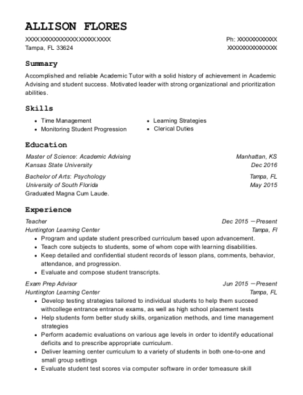 Teacher resume example Florida