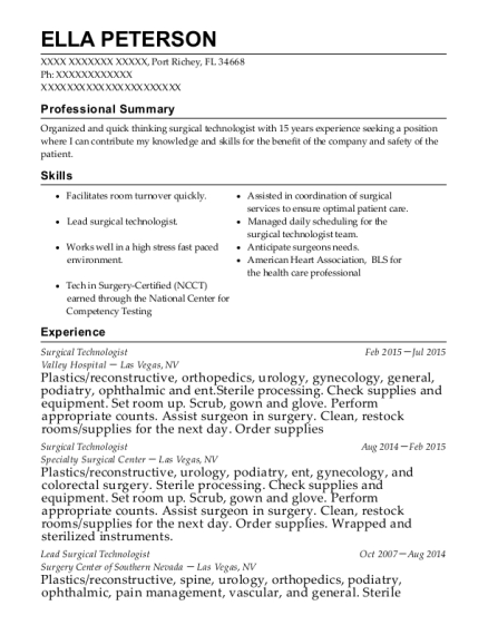 Surgical Technologist resume template Florida