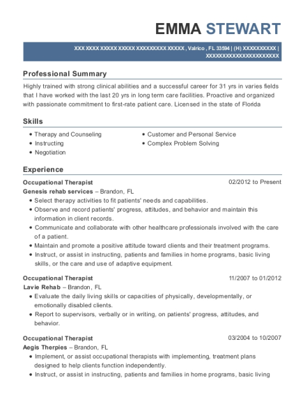 Occupational Therapist resume example Florida