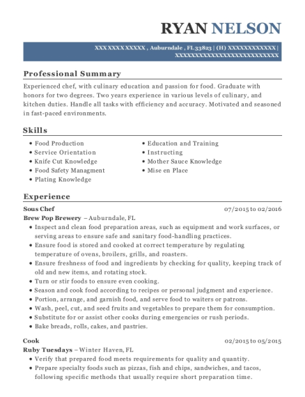 Sous Chef resume example Florida