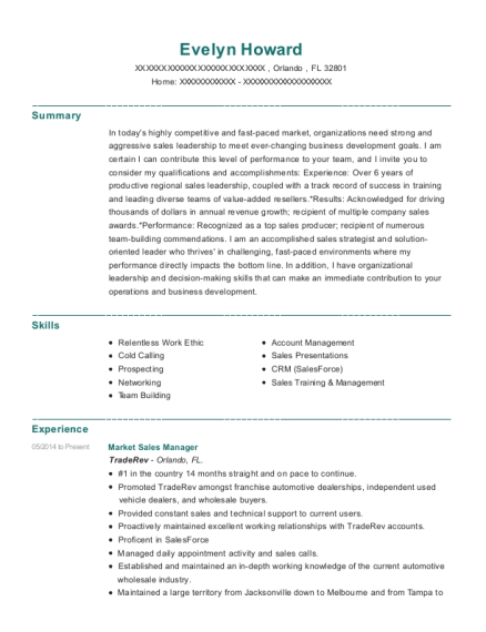 Market Sales Manager resume sample Florida