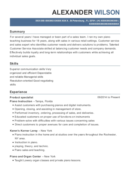 Product Specialist resume template Florida